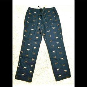 J CREW Cotton Lounge Pants Dog Print Blue Pajama M
